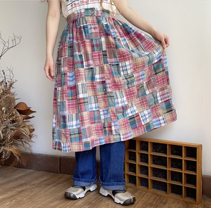 madras plaid patchwork skirt
