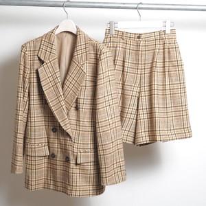 Vintage SET UP (Jacket + Pants) テーラードジャケット ベージュ チェック柄