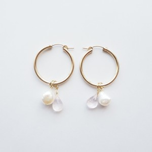 Baroque Pearl & Rose quartz 14KGFフープピアス(4way) チャーム2種セット