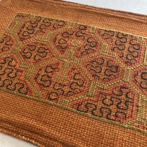 刺繍のカフェマット14 刺子風 裏付き 南米シピボ族の手刺繍