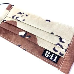 S,M,L【841迷彩マスク】実生地使用 6C チョコチップ プリーツマスク