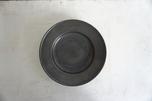 松田靖代 リム皿 7寸 グレー
