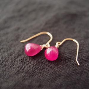 ルビーのしずくピアス【K14gf】hook earrings