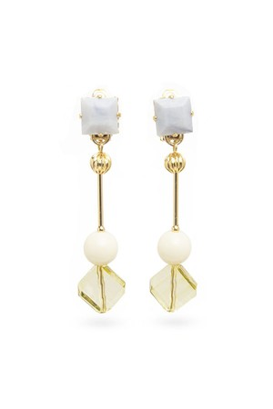 Cube Stone Earrings | WHITE