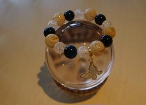 【天然石ブレスレット】☆仕事で成功、金運アップ☆キャンディーみたいなガラスビーズ×ブルータイガーアイ おしゃれなブレスレット