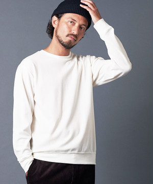 COTTON WOOL MILANO RIB KNITSAW CREW NECK