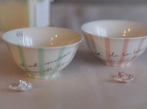 【イニシャル入り】ストライプな夫婦茶碗