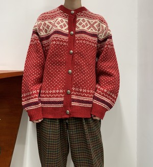 1980s MADE IN USA L.L.Bean nordic wool knit cardigan 【L】