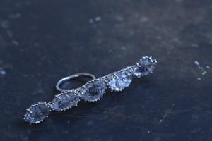 原石水晶5石の指輪