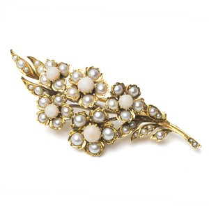 Victorian Pearl Coral Spray Brooch
