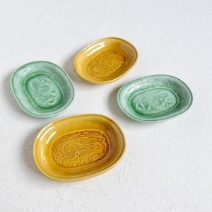 【30989】 珉平焼 楕円豆皿(1枚) 明治 / Minpei Yaki Small Plate / Meiji Era