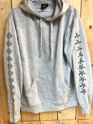 INDEPENDENT x THRASHER PENTAGRAM CROSS PULLOVER HOODIE GRAY HEATHER