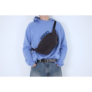 gray blue fleece boa waist bag