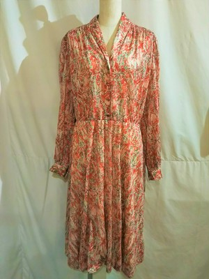Vintage shawl collar flower one-piece /Made In France [O-505]