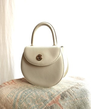 COURREGÈS Leather Hand Bag -White-