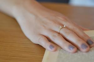 ハーキマーダイヤモンドと淡水パールのリング・真鍮