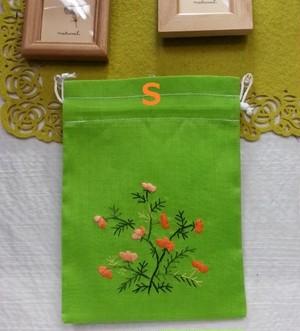 ベトナム雑貨PhiPhi・お土産・アジアンハンドメイド・刺繍巾着袋(小) S