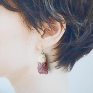 近あづき 編み物のピアス(オレンジ・ピンク)