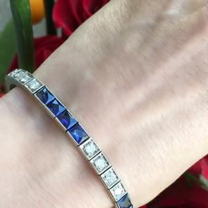 Art-Deco Diamond & Synthetic Sapphire Bracelet