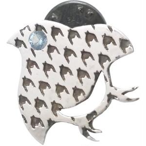 (3月)アクアマリン チドリ シルバーピンバッジ ピンズ*ST-003-03