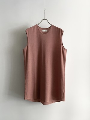T/f Lv2 cotton waffle sleeveless top - fade pink