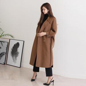 【秋冬新作】シンプル ボリュームスリーブ風リボンベルトウールコート