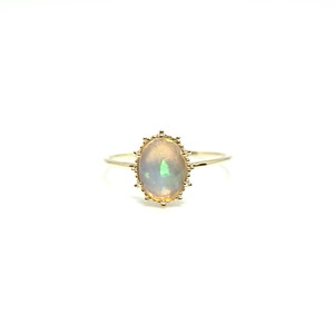 granulation 8×6 gem ring - Opal facet cut