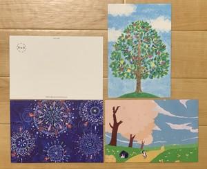 きらり。ポストカード(桜・花火・木) 3枚セット