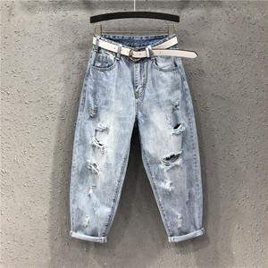 【ボトムス】ファッションハイウエストダメージ加工デニムパンツ44694859