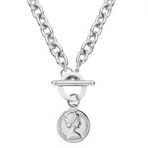 316L Coin Pendant Necklace 【SILVER】