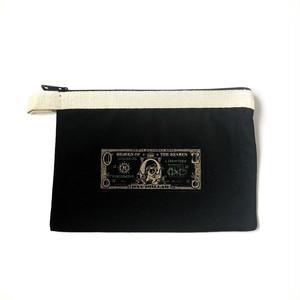 真理藻(marimo)  ドル札 ビッグ ポーチ ブラック