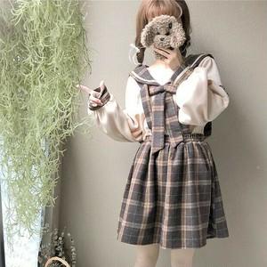 【セットアップ】2点セットスウィートリボン付き長袖パーカー+チェック柄スカート/サロペット