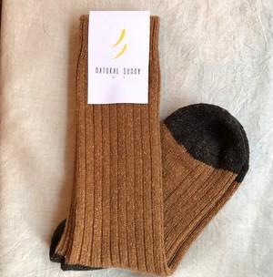 【NATURAL SUNNY】ウール シルク ネップ ソックス チャコール キャメル 靴下  日本製  ナチュラルサニー