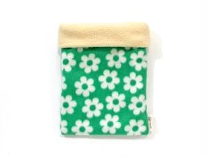 ハリネズミ用寝袋 M(冬用) フリース×フリース フラワー グリーン