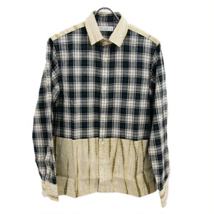 ユニークチェックシャツ 有松絞り生地を使用したデザインシャツ ベージュ ユニセックス