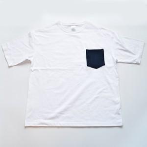 BIGシルエット ビンテージ 藍染 剣道着 リメイク ポケットTシャツ M-XL WHT