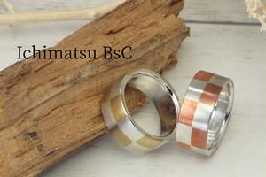 R-Ichimatsu 真鍮、銅の市松文様平打ちリング