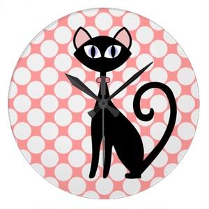 黒猫のアイコンタクト壁時計(アメリカデザイン)
