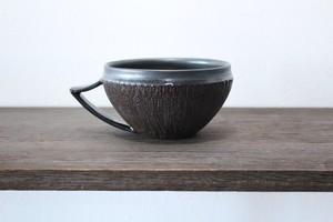 陶芸作家【MUSHITARO/新納虫太郎】Tea cup erosion pattern kuromon ティーカッップ スープカップ【黒】