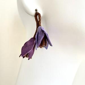 NEW cord flower ピアス・イヤリング〈ラベンダー・レーズン・ブラウン〉