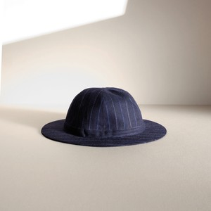 つばの薄い帽子 【Wooly hat】- Chalk stripe in navy blue -
