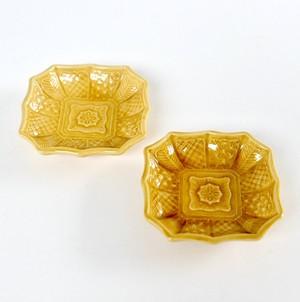 [NO.049] 珉平焼(1個) 明治 / Minpei Yaki Plate Yellow / Meiji Era