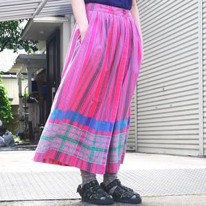 【USED】ストライプ × チェック 巻きスカート