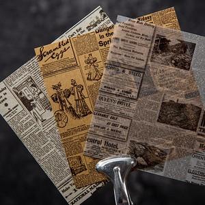 素材紙 古新聞シリーズ 全8種 硫酸紙 クラフト紙 レトロ アート ほぼ日 コラージュ 紙もの 紙活 素材 スクラップブッキング 海外製 G01