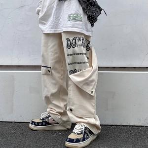 【ボトムス】ファッションストリート系落書き切り替えレギュラーウエストカジュアルパンツ35365266