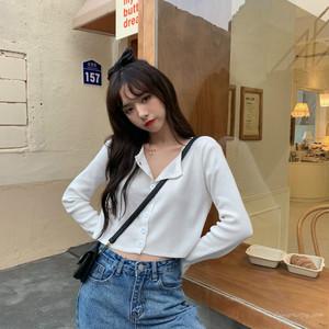 【トップス】韓国系さっぱりイメージシングルブレストショート丈長袖Tシャツ