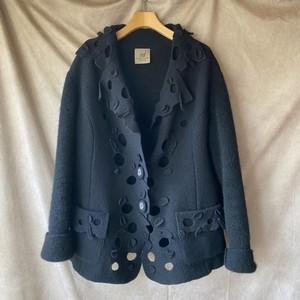 Italy vintage design wool jacket/イタリア製ウール黒ジャケット