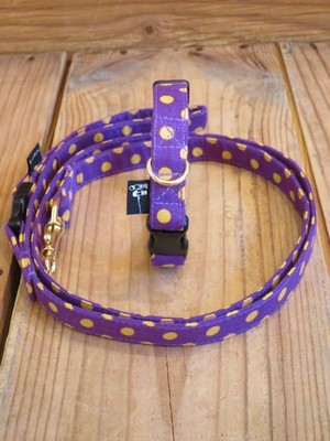 Polka Dot Collar & Leash - S(小型犬用)