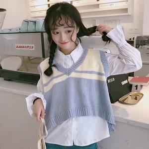 【単品注文】【セットアップ】ショート丈ノースリーブニットベスト/白いシャツ2点セット22536338