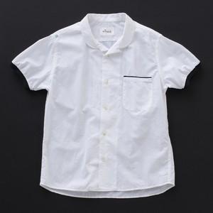オープンカラーシャツ(丸衿) 白×黒+P